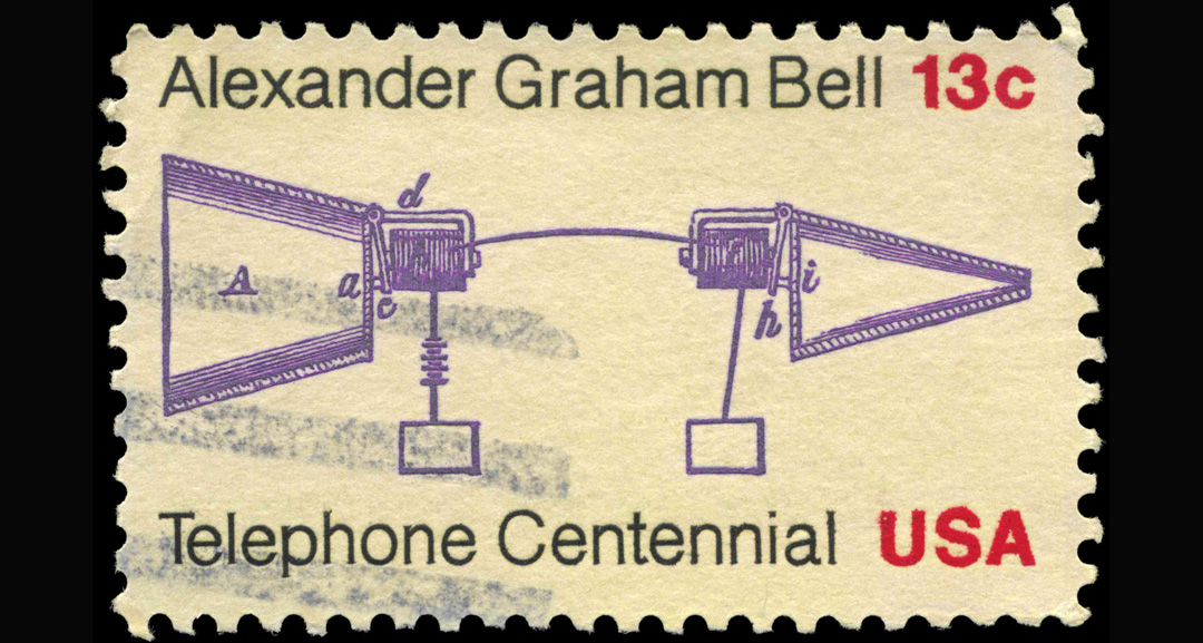 Phone invention centenary stamp