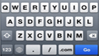 iPhone keyboard including a .com button
