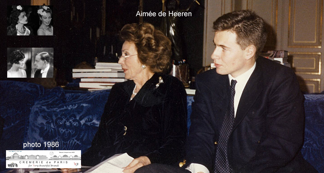 Aimée de Heeren and the editor of the Cremerie de Paris in 1986