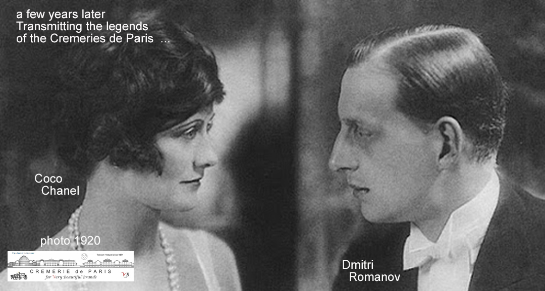 Transmitting the legends about the Cremeries de Paris, Dmitri Romanovs shows the Cremeries to Coco Chanel. She fell in love with both Romanov and the Cremeries. The place became her secret night walk destination.
