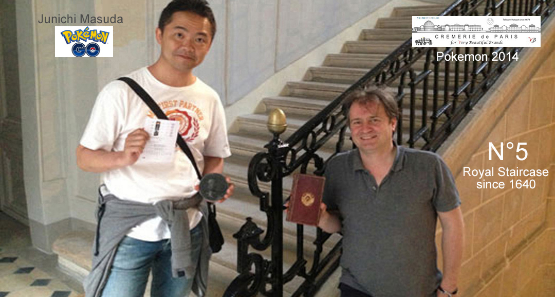 Fascinated by the legends of the Cremeries de Paris, Junichi Masuda, music composer and co inventor of the Pokemons / Pokemon Go with Ben Solms (Cremeries de Paris) in the Royal Staircase