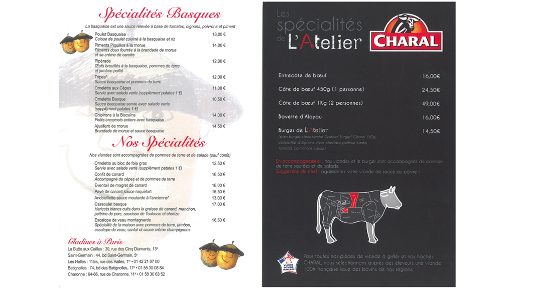 Menu of the Charal Pop Up Cafe