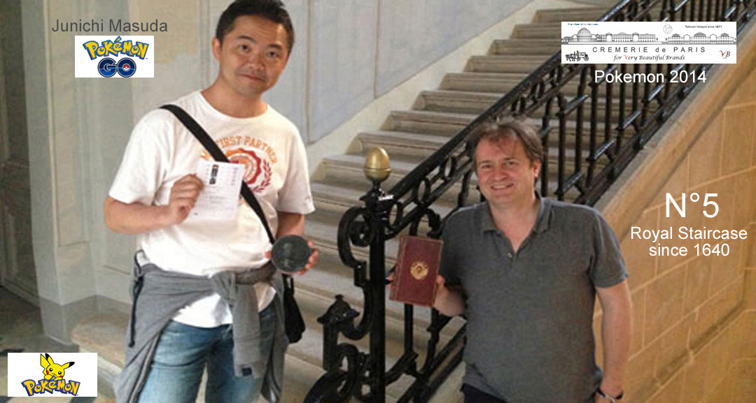 Junichi Masuda, music composer and inventor of Pokemon Go with Ben Solms (Cremeries de Paris) in the Royal Staircase